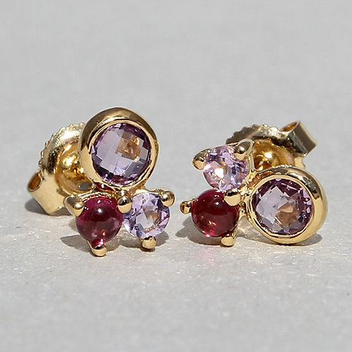 gold plated studs with natural stones