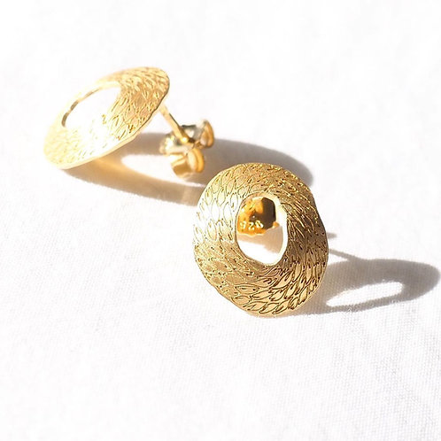 gold plated silver earrings with handmade engraving
