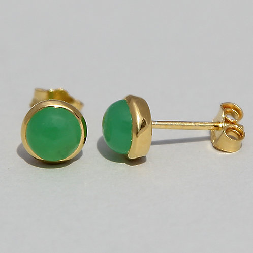gold plated silver studs with chrysoprase