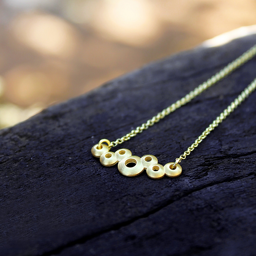 gold plated silver necklace with bubbles