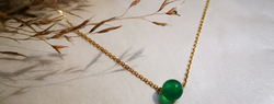 silver necklace with green stone