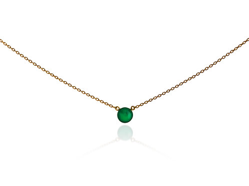 Gold plated silver necklace with natural green chalcedony, pendant, choker