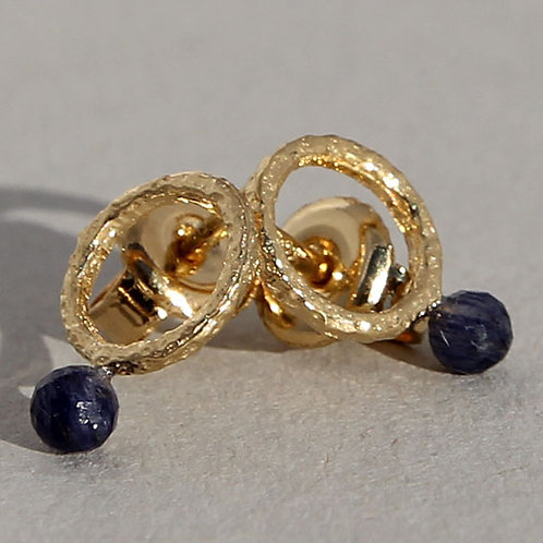 Gold plated sterling silver earrings with blue sapphires
