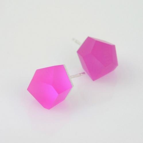 magenta pink silver earrings