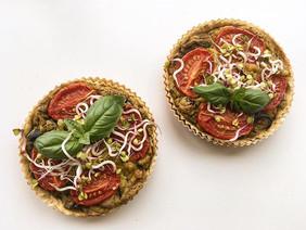 Mushroom cherry tomato tofu miniquiches
