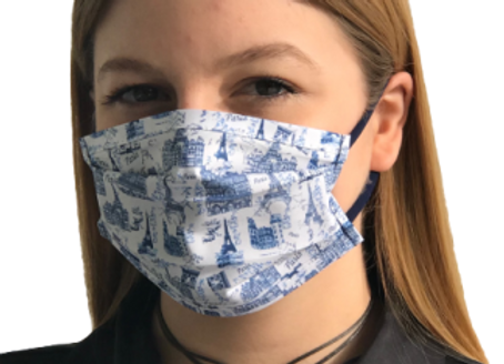 5 Masques Grand Public Junior 11 et + à élastiques - Paris bleu