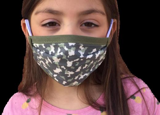 5 Masques enfants (6 à 11 ans) élastiques - imp militaire