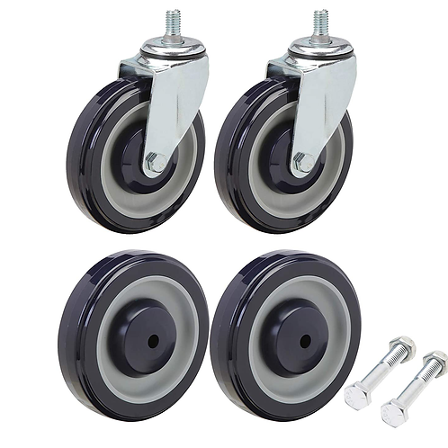 5 Inch Universal Polyurethane Shopping Cart Wheels and Casters Set of4