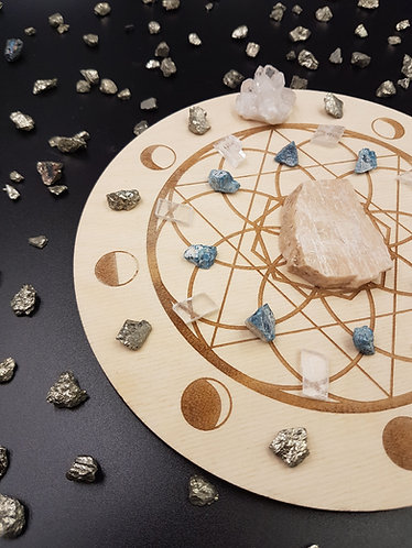 Moon Phases Crystal Grid Plate