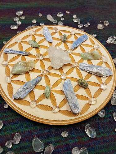 "6"" Flower of Life Crystal Grid Plate"