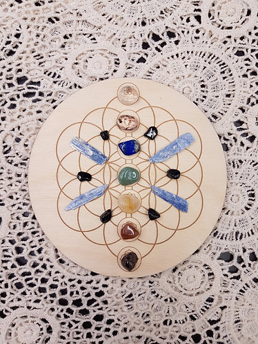"6"" Chakra Clearing Crystal Grid Plate"