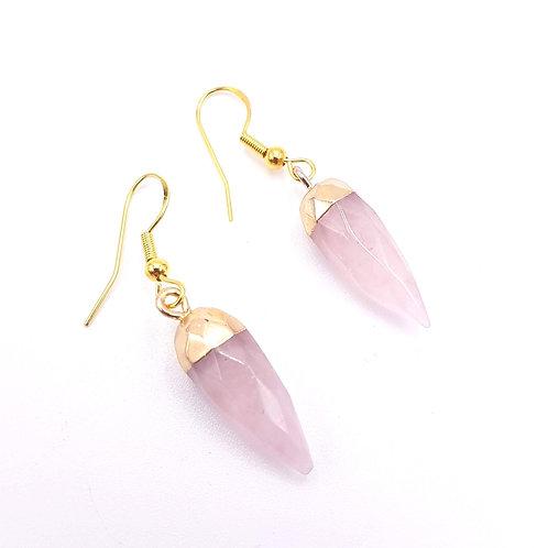 Rose Quartz Faceted Point Earrings