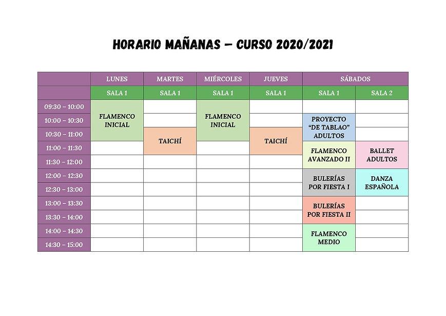 Horario Mañanas 2020/2021