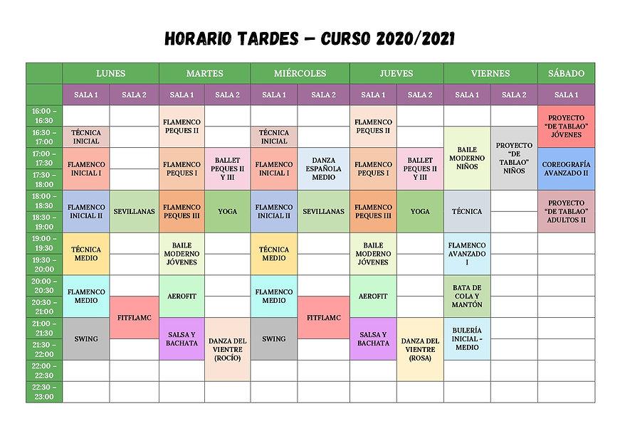 Horario Tardes 2020_2021
