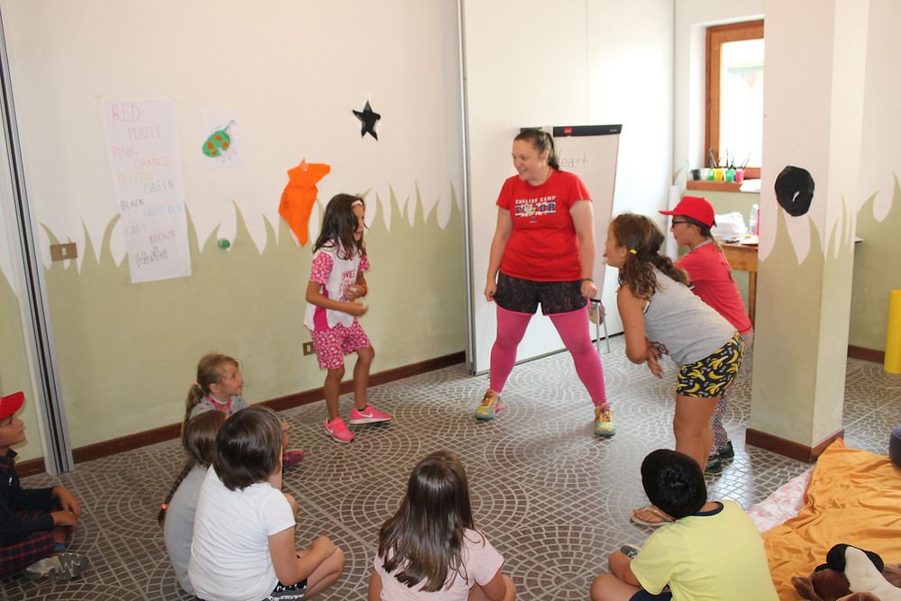 Me, teaching Italian children English at summer camps across Italy - Life Itinerant