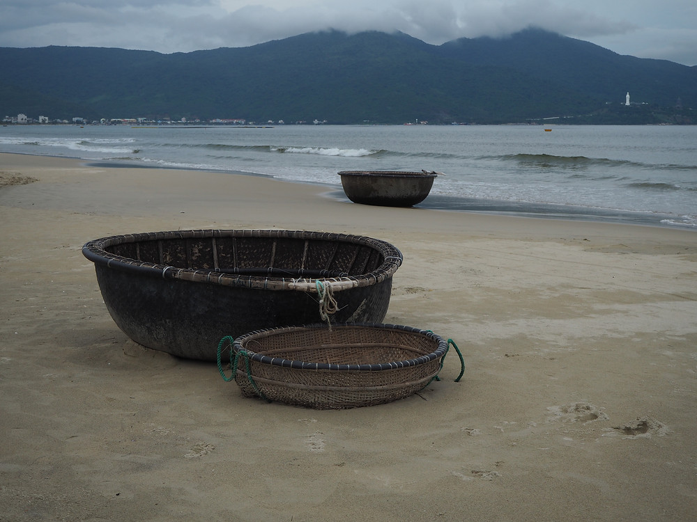 Basket Boats on My Khi Beach, Danang - Life Itinerant