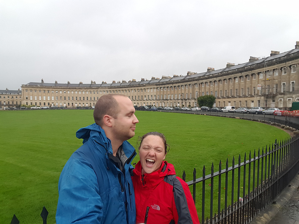 Dean licking my face outside the Royal Crescent , Bath - Life Itinerant