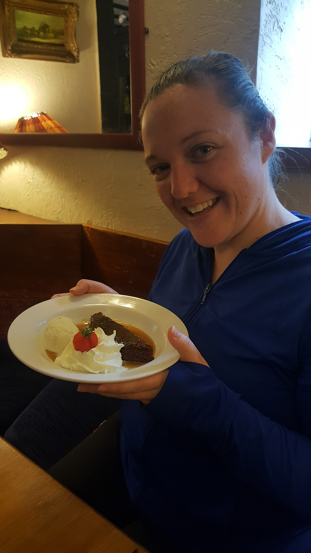 chowing down on some sticky toffee pudding, Tyn-y-coed, Wales - Life Itinerant