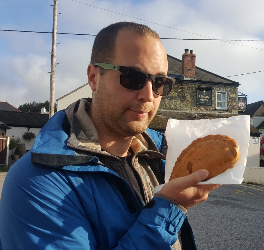 Dean eats his first Cornish pasty - Life Itinerant