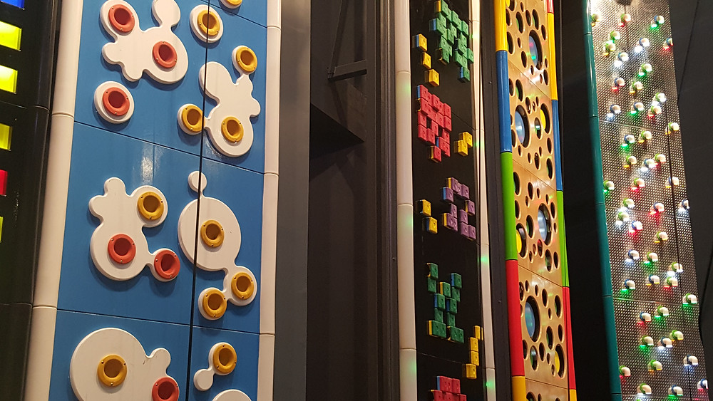 Some of the 'art walls' LED climbing walls at Sports Monster Hanam - Life Iitinerant