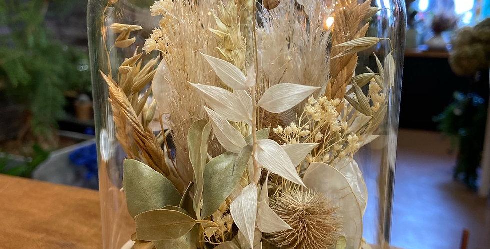 Cloche fleurie tons naturels