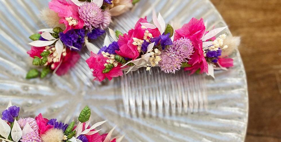 Peigne fleuri rose et bleu