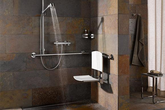 Keuco Plan Care Corner T-Grab Bar w/ Shower Holder 34915