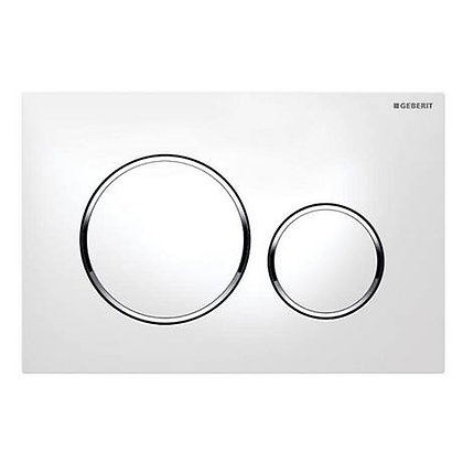 Geberit Sigma 20 Dual Flush Push Plate - White w/ Bright Rings