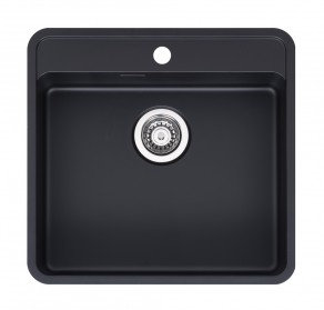 Reginox Ohio Regi-Colour Single Bowl Kitchen Sink w/ TapWing Jet Black