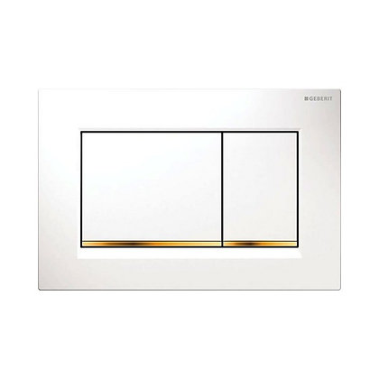 Geberit Sigma 30 Dual Flush Push Plate - White w/ Gold Border