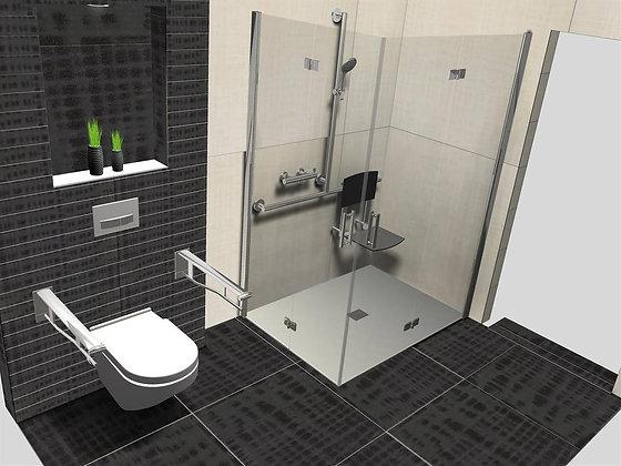 Keuco Plan Care T-Grab Bar w/ Shower Holder 34914