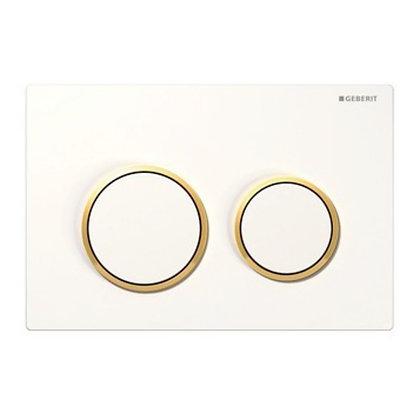 Geberit Kappa 21 Dual Flush Push Plate - White w/ Gold Ring
