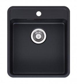 Reginox Ohio Regi-Colour Single Bowl Kitchen Sink w/ TapWing Jet Black L40x40