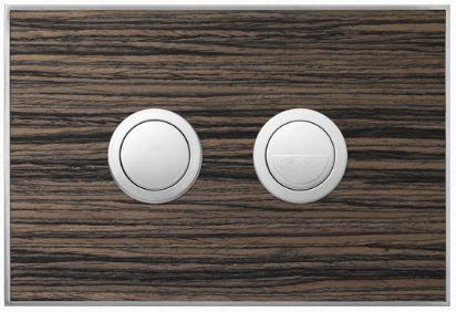 Valsir Dual Flush Push Plate for Winner S - Wood Malindi Ebony
