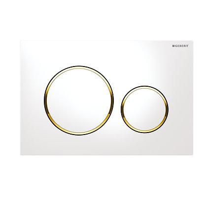 Geberit Sigma 20 Dual Flush Push Plate - White w/ Gold Rings