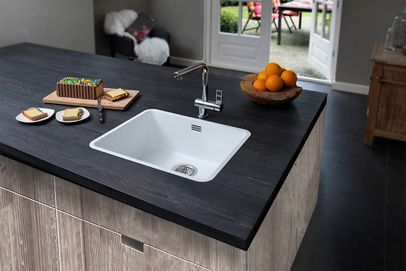 Reginox Ohio Regi-Colour Single Bowl Kitchen Sink Arctic White L50x40
