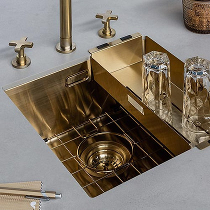 Reginox Miami Single Bowl Kitchen Sink Gold L40x40