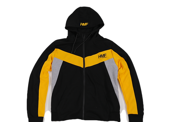 HMF Zip-Up Sweatsuit Jacket (Black,Yellow,Grey)