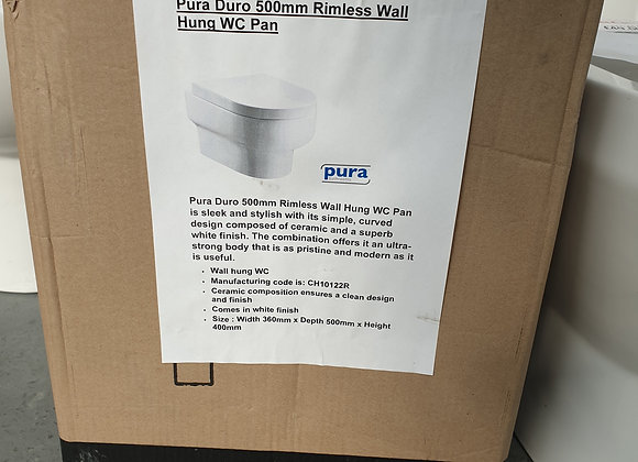 Pura Duro 500mm Rimless Wall Hung WC Toilet Pan