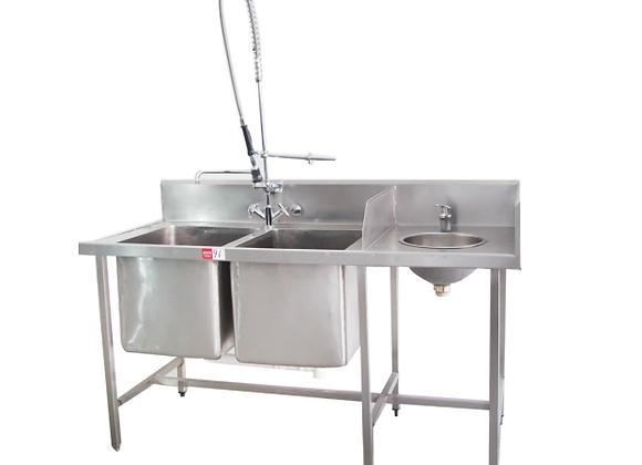 Used Wet Bench 700Dx900H + 2 Sinks 450x450x300