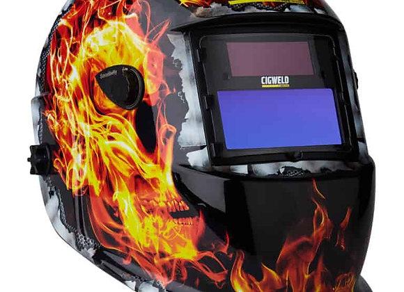454335 Weldskill Auto-Darkening Welding Helmet Variable Shade 9-13 Flaming Skull