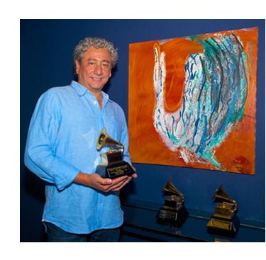 Bonzai Caruso Holding Grammy Awards