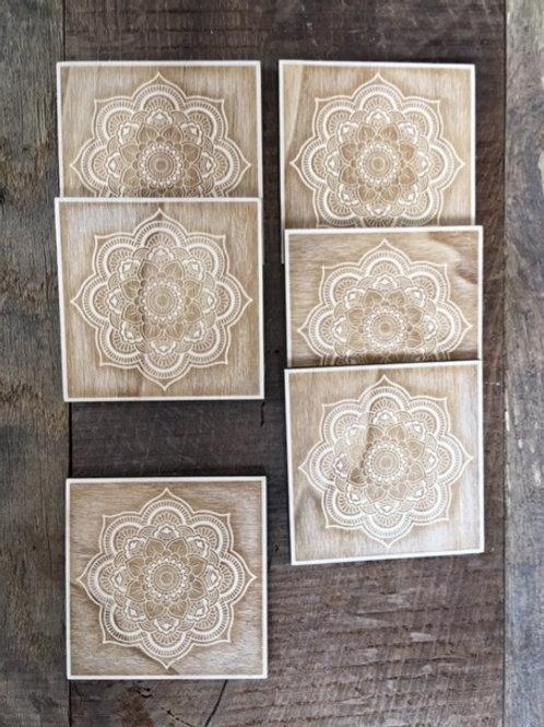 Dessous de verre - Mandala -  Fleur de vie - Carré