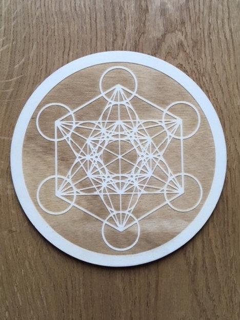 Dessous de bougie - Cube de Métatron gravé (foncé)