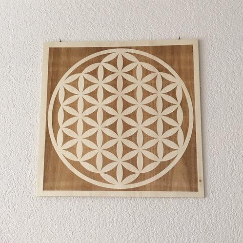 Tableau gravé - Fleur de Vie
