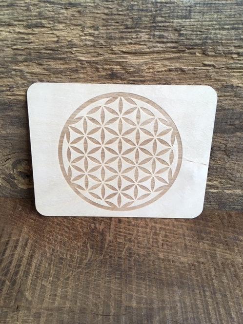 Carte en bois - Fleur de Vie foncée