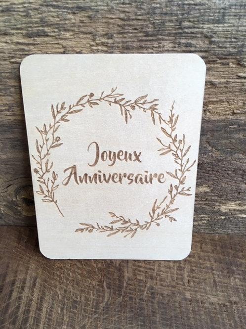 Carte en bois - Joyeux anniversaire