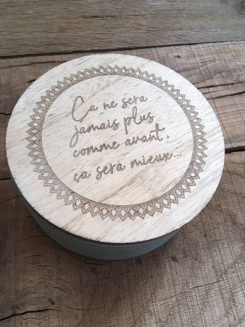 Boite en bois avec miroir - Ca ne sera jamais plus...