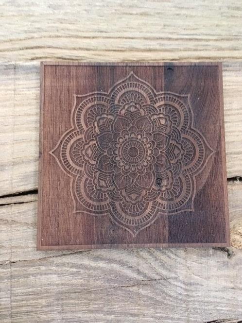Dessous de bougie Mandala - noyer