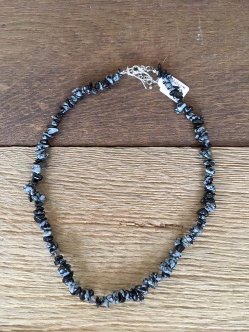 Collier - Obsidienne flocon de neige
